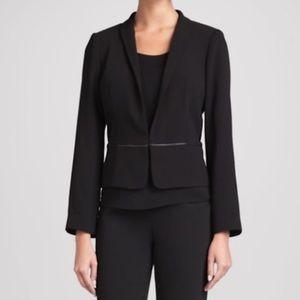 Eileen Fisher Leather Trimmed Blazer Black Size XS